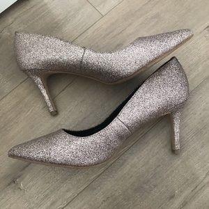 BCBG blush sparkly heels